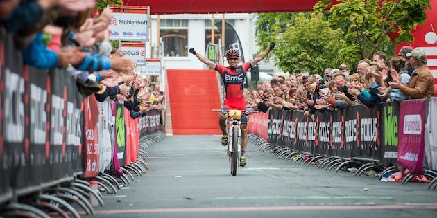 Moritz-Milatz_130714_GER_BadSalzdetfurth_DM_XC_Men_Milatz_finish_acrossthecountry_mountainbike_by_Maasewerd