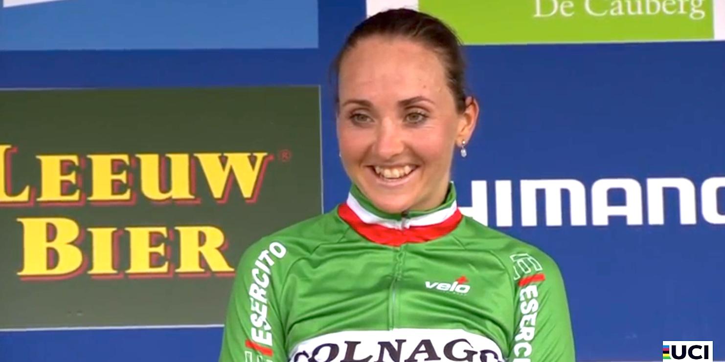 Eva Lechner_Valkenburg_podium_smiling_by Screenshot UCI