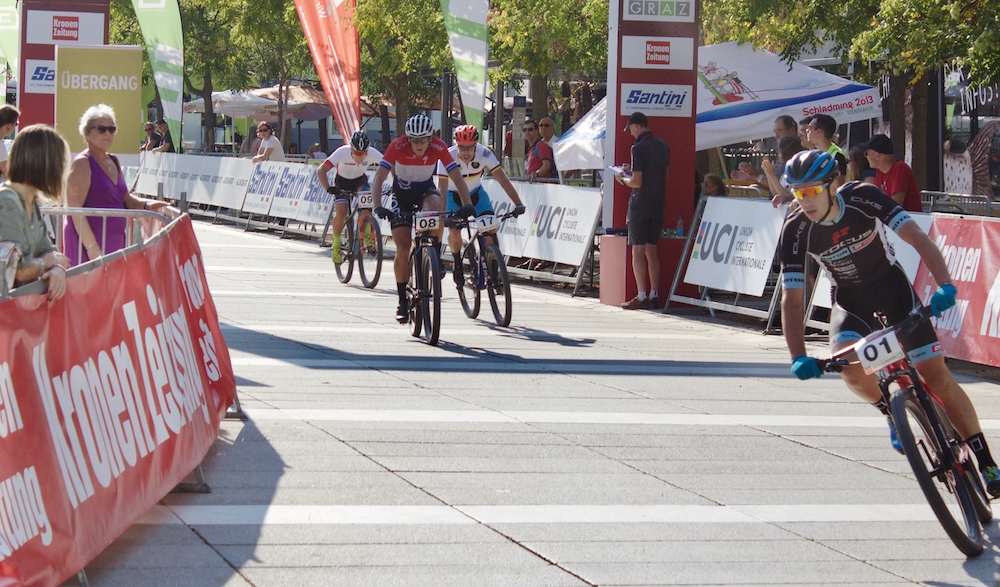 Viertelfinale der Weltcupsieger von links: Lorenzo Serres, Jeroen van Eck, Simon Gegenheimer und Hugo Briatta ©Erhard Goller