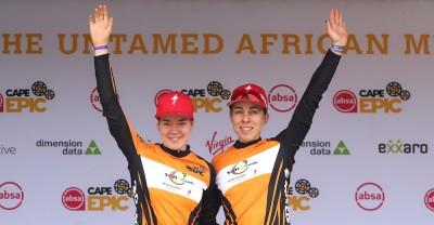 vanderBreggen_Langvad_podium_ACE19_Stage5_ShaunRoy_6815_Absa-Cape-Epic