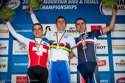 Das Dreigestirn: Nino Schurter, Jaroslav Kulhavy, Julien Absalon bei der WM 2011 in Champery / SUI © Armin M. Küstenbrück / EGO-Promotion