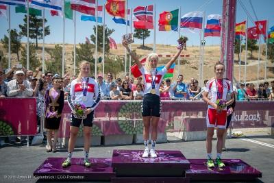 Siegerehrung 2015 in Baku (vlnr): Katrin Stirnemann, Jolanda Neff, Maja Wloszczowska © Armin M. Küstenbrück / EGO-Promotion